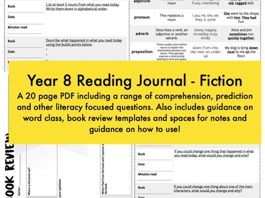 Reading Journal / Diary - Fiction - Year 8