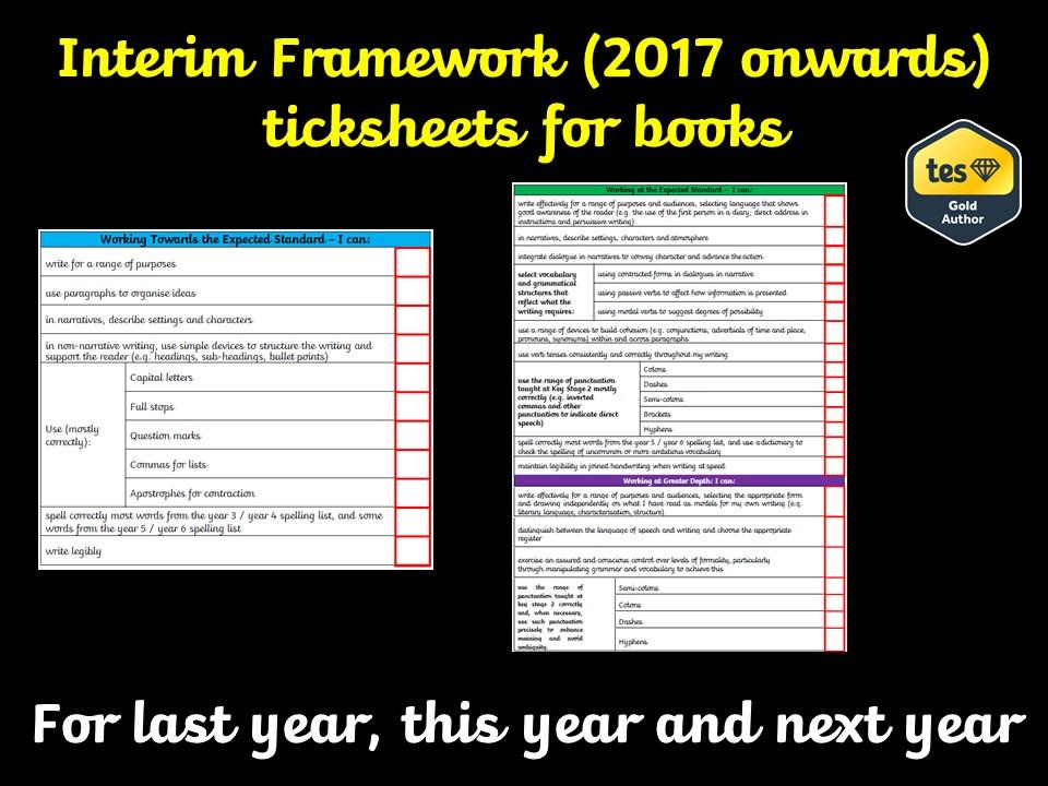 Interim Framework (2017 onwards) ticksheets for books