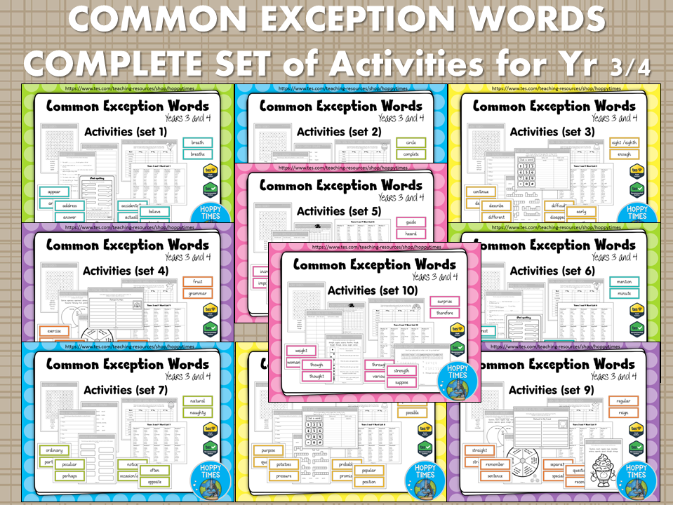 Complete Set Year 3/4 Common Exception Words Spelling Activities