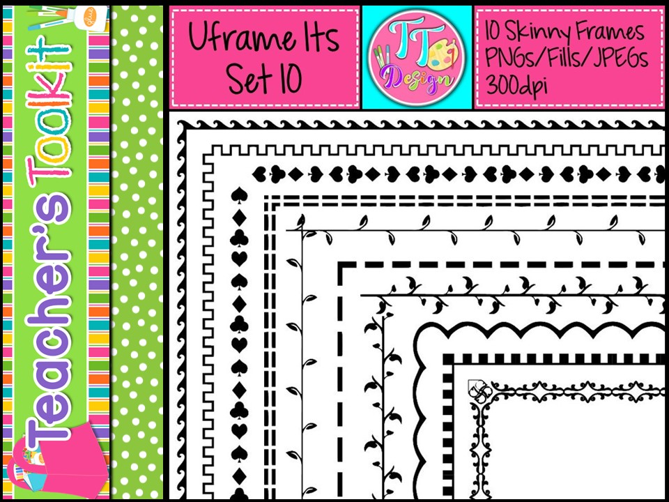 'UFrame Its' Set 10 Skinny Worksheet Frames Borders Clip Art CU OK
