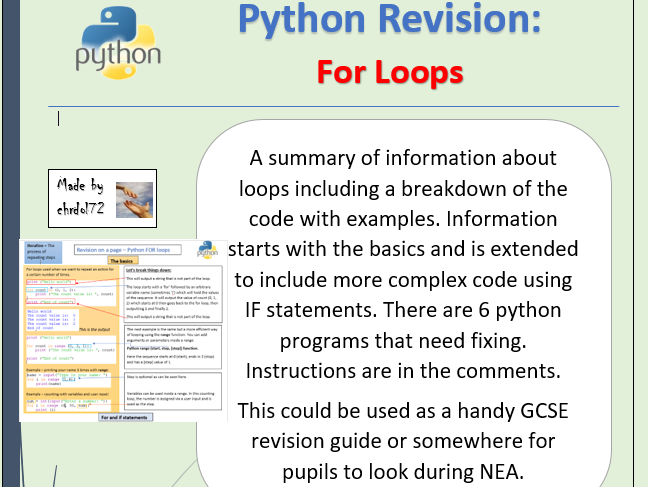 Python revision - For Loops