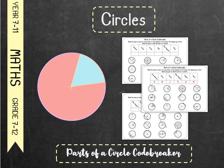 Circles - Parts of a Circle Codebreaker
