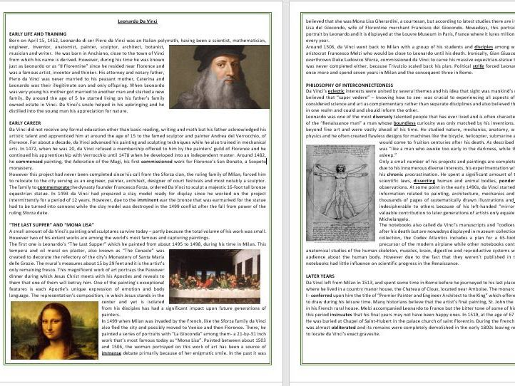 The life and work of Leonardo da Vinci - Reading Comprehension and Vocabulary Worksheet