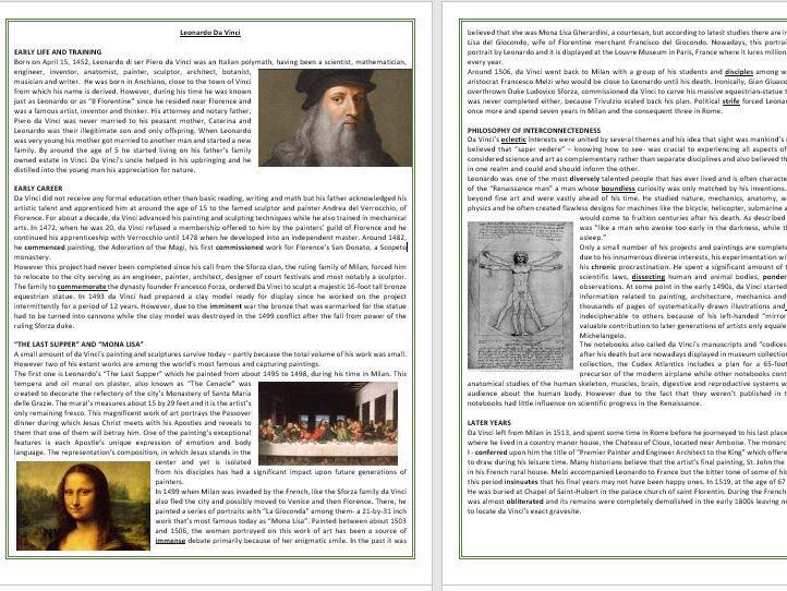 The life and work of Leonardo da Vinci - Reading Comprehension and Vocabulary Worksheet