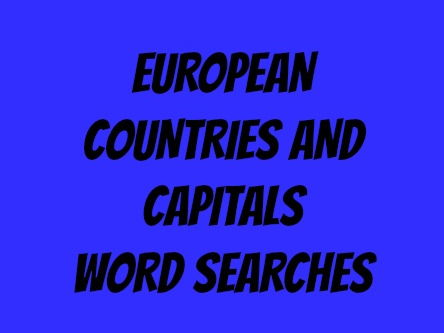 European Countries and Capitals Word Searches
