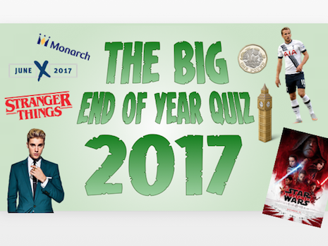 The Big Quiz of the Year 2017! - End of Term / Christmas Quiz - Music, News, Sport, TV, Film etc.