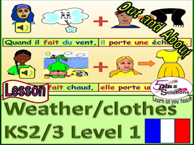 "PRIMARY FRENCH LESSON (KS2/3): ""When"" + weather phrase + I/He/She wear(s) + clothes"