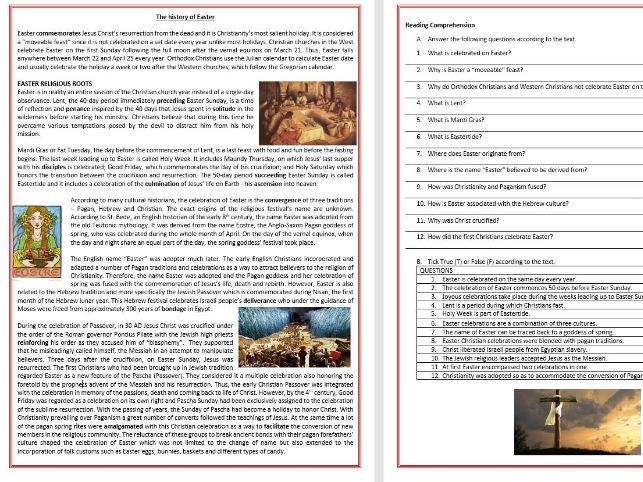 The history of Easter - Reading Comprehension and Vocabulary Worksheet