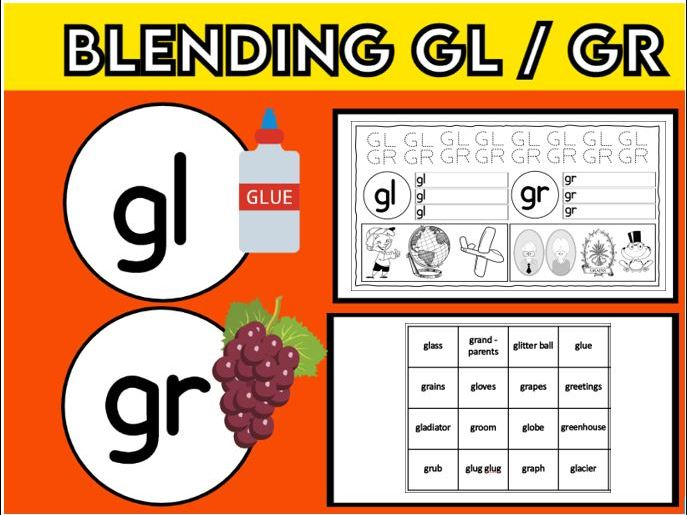 Blending Gl and Gr Worksheets KS1