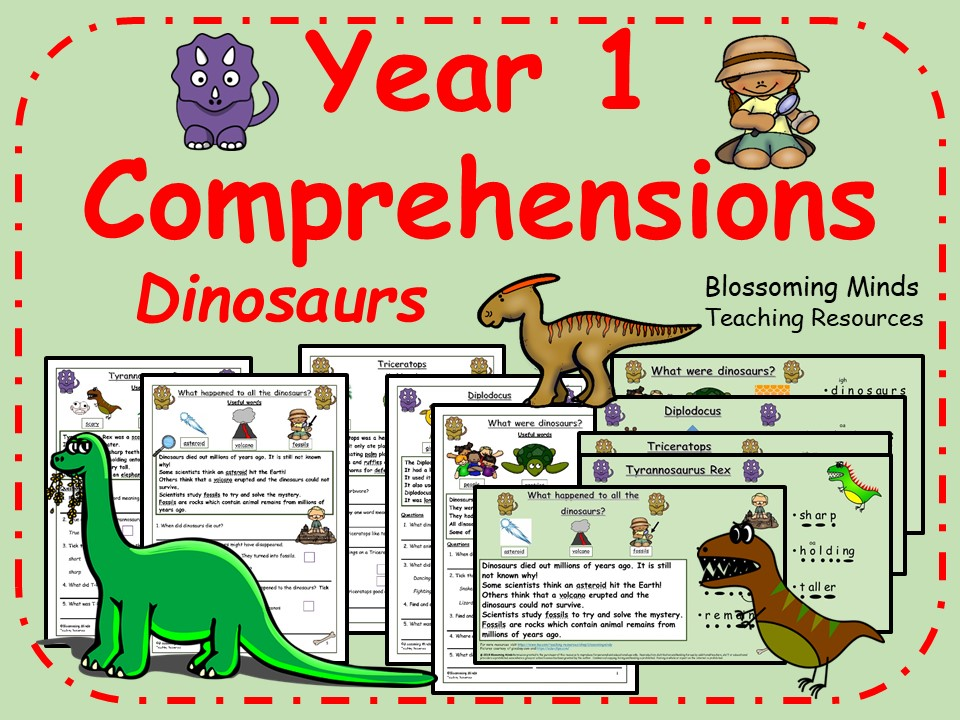 Year 1 Comprehensions - Dinosaurs - 3 Levels