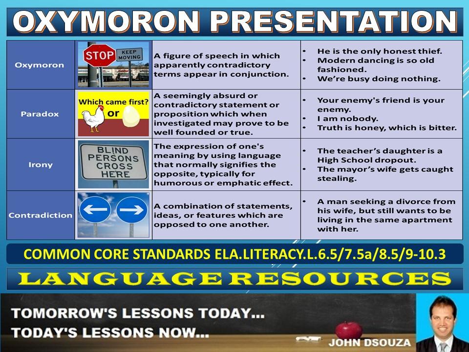 OXYMORON LESSON PRESENTATION