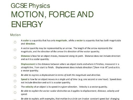 ENERGY/PARTICLES/FORCES unit summaries/checklists for AQA GCSE Physics