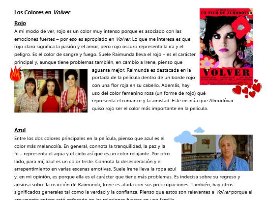 Los Colores en Volver (A2 Spanish)