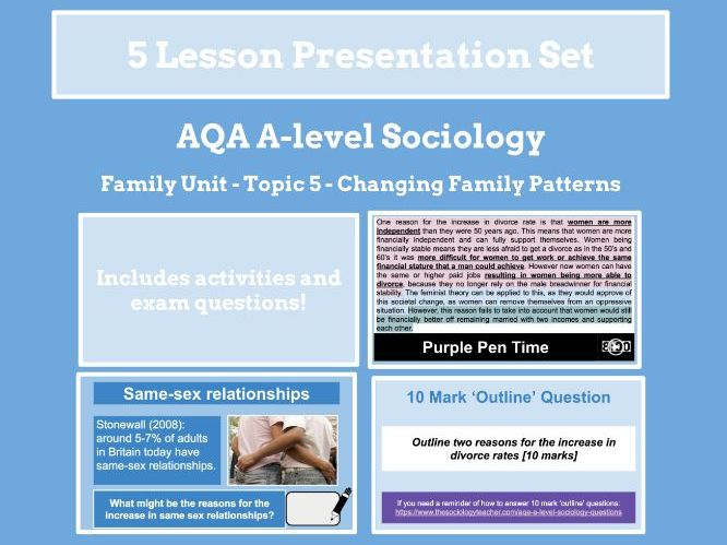 Changing Family Patterns - AQA A-level Sociology - Family Unit - Topic 5