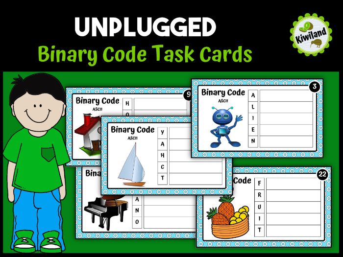 Binary Coding Unplugged Task Cards Ascii
