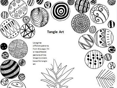 Tangle Art Activity - Pineapple
