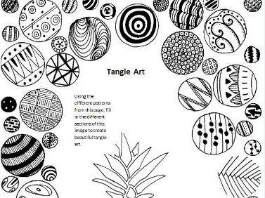 Tangle Art Activity - Pineapple