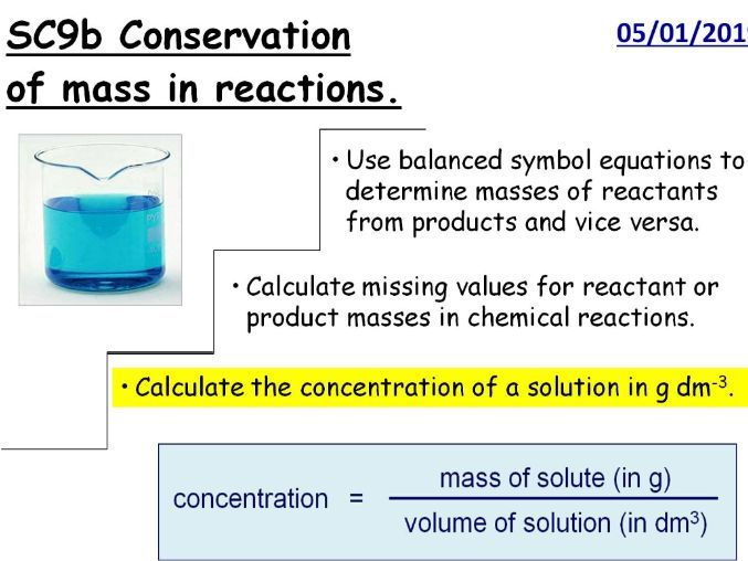 Conservation of Mass in Reactions GCSE Lesson (SC9b CC9b)