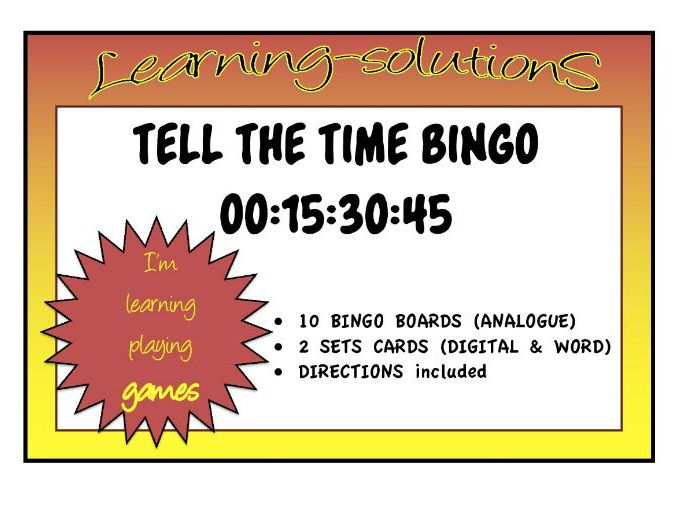 TELL THE TIME BINGO - Hour/Half past/Quarter past and quarter to