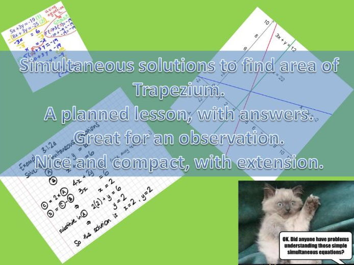 Simultaneous equation linked with area of a trapezium.