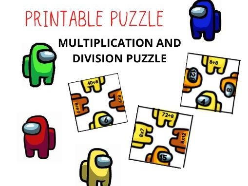AMONG US - Multiplication and Division Printable Puzzle(2-9)