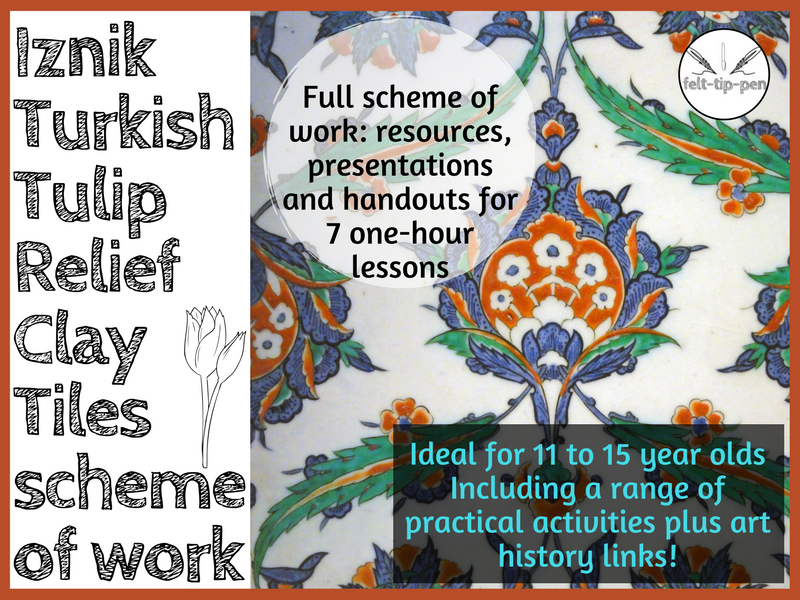 Iznik Turkish Tulip Relief Clay Tiles scheme of work