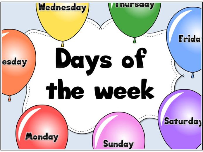 Days of the week balloons display