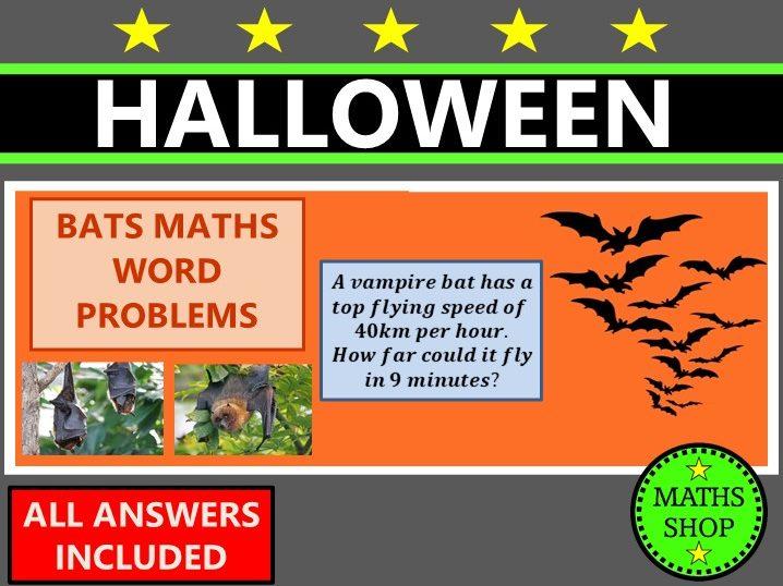 Halloween Maths Word Problems Vampire Bat Themed Maths