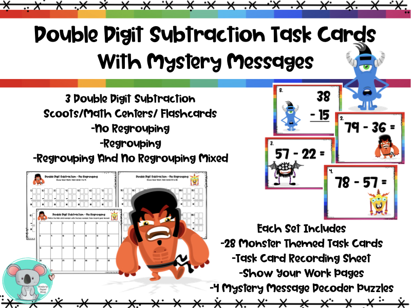Double Digit Subtraction Task Cards With Mystery Messages -Scoot/Math Centers/Flashcards