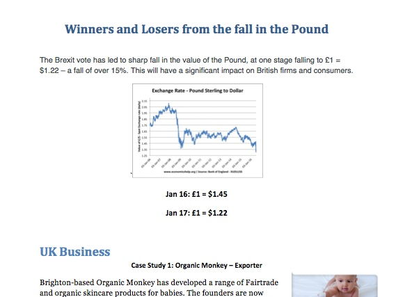 Winners and Losers from the fall in the Pound