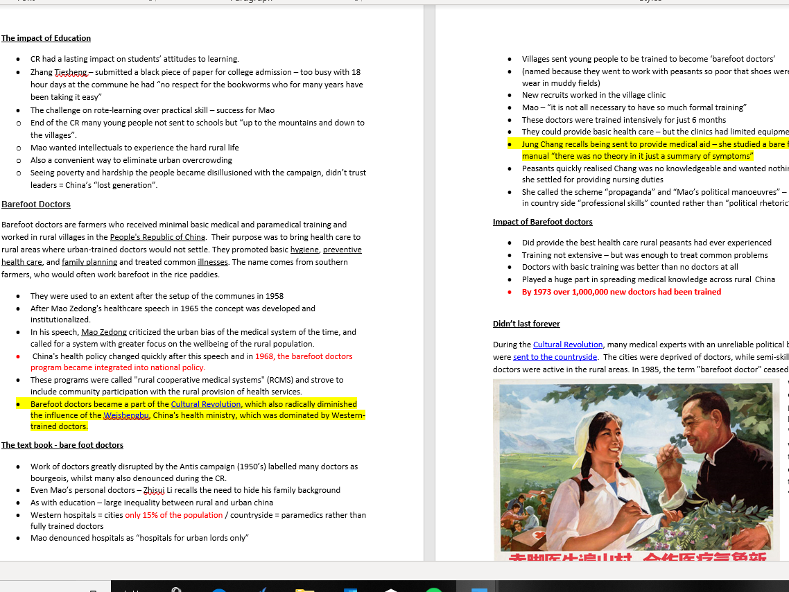 Mao's China Themes 1-4 entire spec -condensed notes + key facts/stats  (Edexcel History A Level)