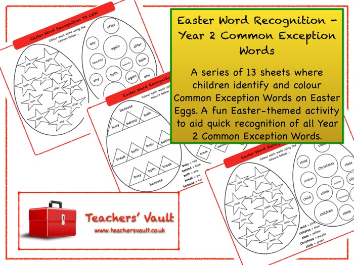 Easter Word Recognition - Year 2 Common Exception Words