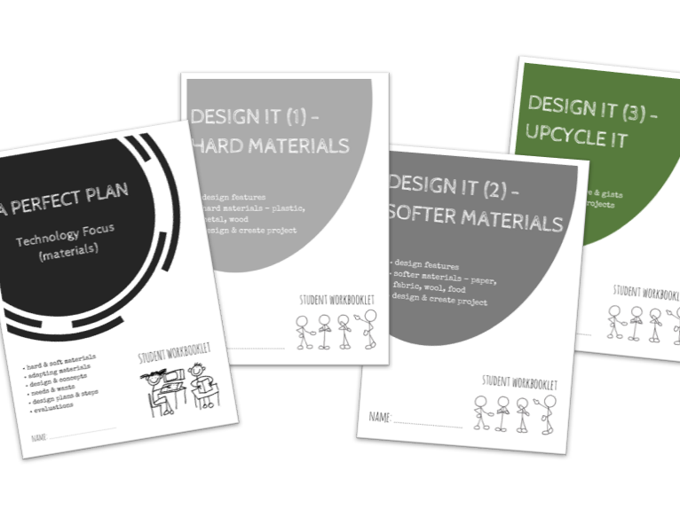 DESIGN IT bundle - x4 workbooklets PLANNING DESIGN, HARD, SOFT MATERIALS, UPCYCLING