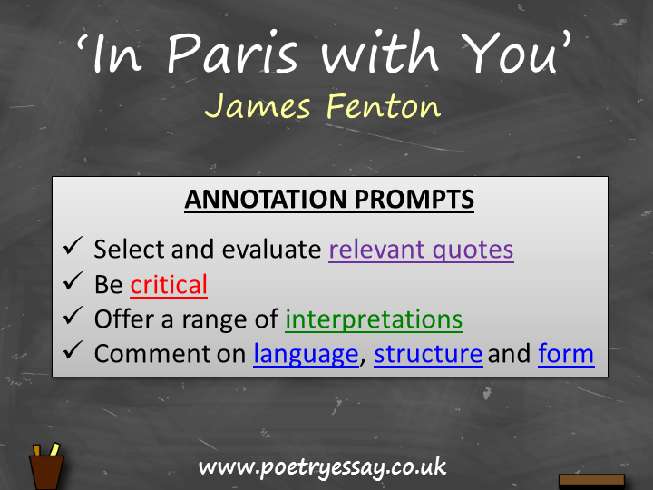 James Fenton – 'In Paris with You' – Annotation