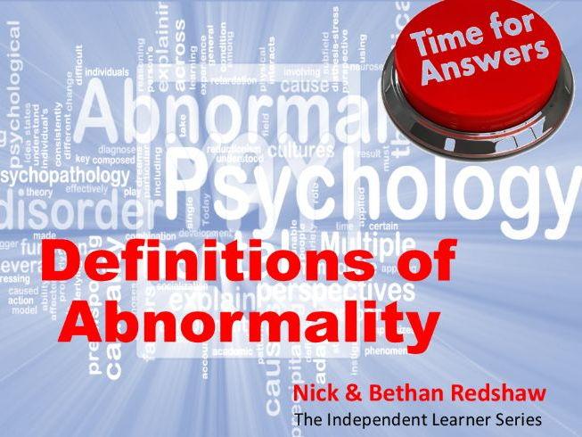 Workbook Answers Psychopathology - Definitions of Abnormality