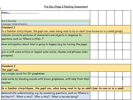 Pre-KS2 Reading Assessment Standards