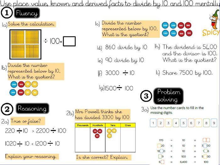 Division- dividing by 10 and 100