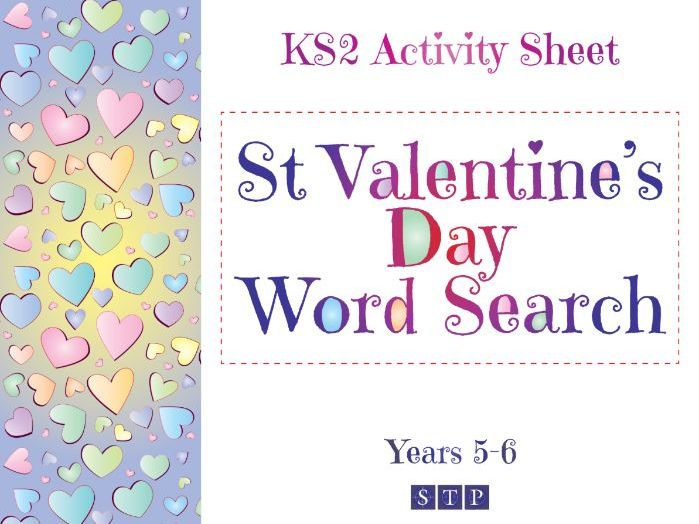 St Valentine's Day Word Search (+ Solution!) (KS2 Activity Sheet: Years 5 & 6)