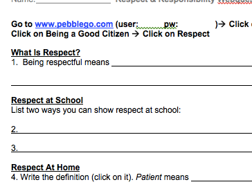 Respect & Responsibility PebbleGo Webquest
