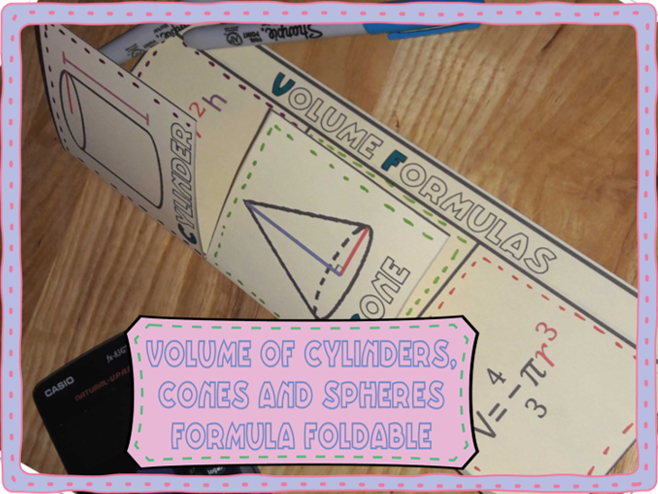 Volume of cylinders, cones and spheres formula reference foldable