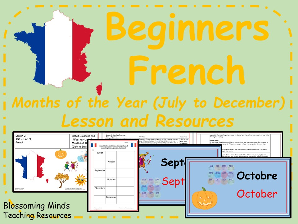 French Lesson and Resources - KS2 - Months (July to December)