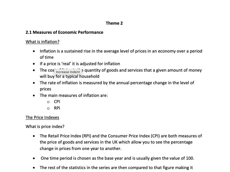 Theme 2 A-Level Economics  Revision notes (Edexcel)
