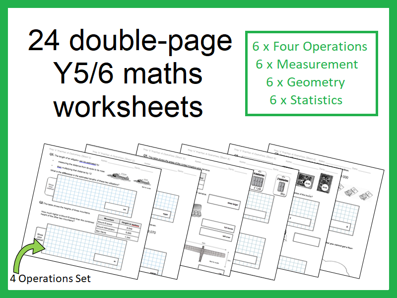 24 double-page maths worksheets