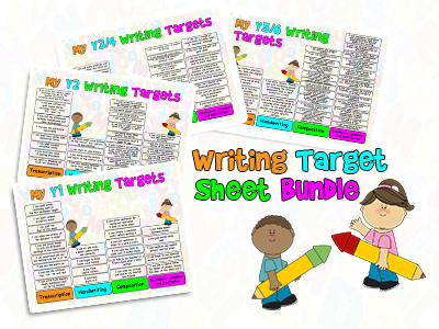 Child friendly pupil writing target sheets for years 1-6 Bundle