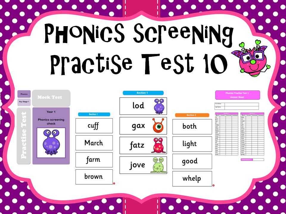 Phonics screening practise test 10