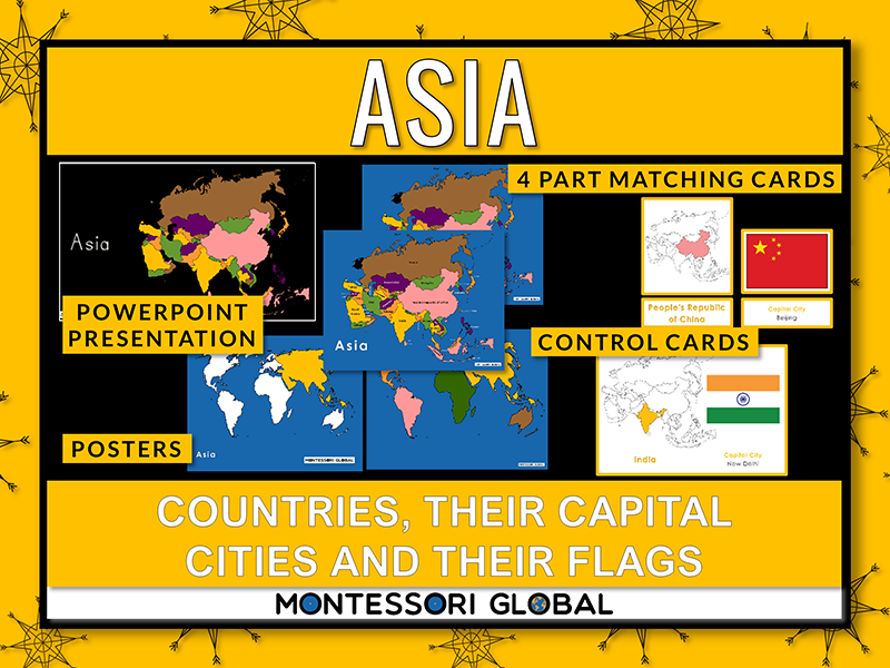 Asian Countries   Flags   Capital Cities -PowerPoint + Montessori 3 Part Cards