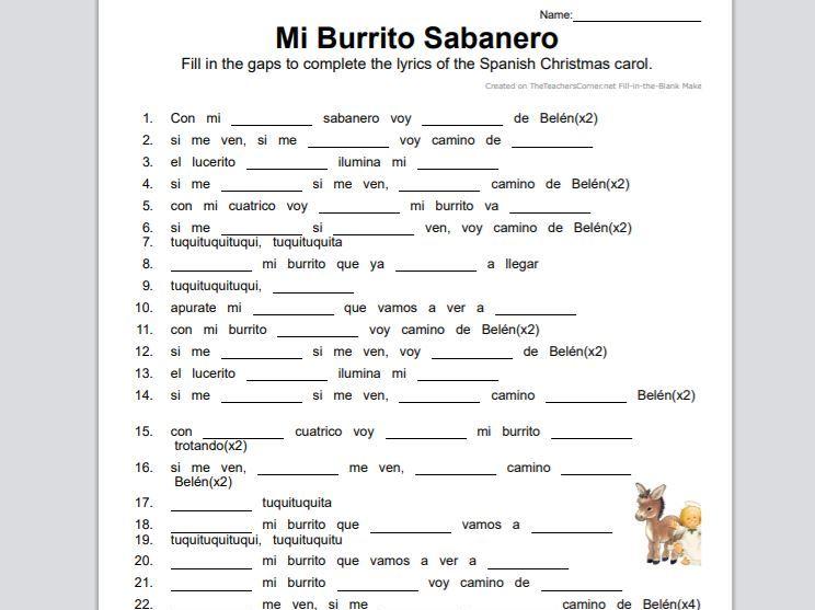 """Villancico """"Mi Burrito Sabanero"""" Gap Fill"""