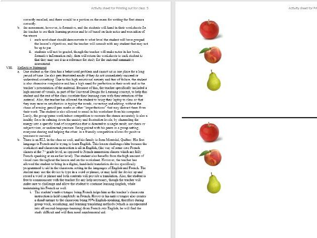 Microteaching French Fruit lesson