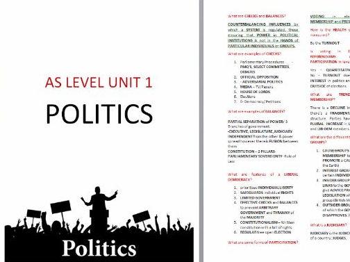 UNIT 1 & UNIT 2 POLITICS COMPLETE REVISION GUIDE