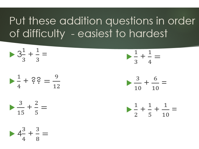 Year 6 - Addition and Subtraction of Fraction - 3 levels of differentiation - SATs type questions